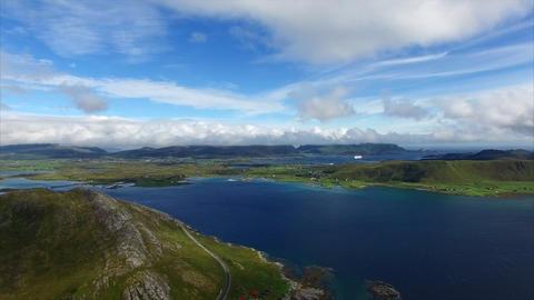 Aerial Timelapse Of Leknes Area On Lofoten Islands In Norway stock footage