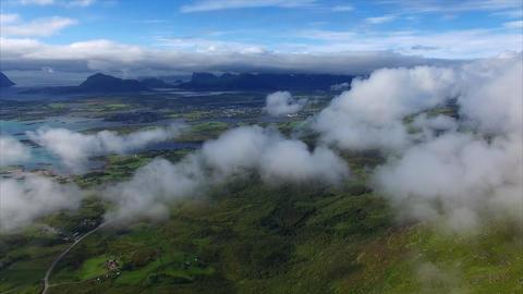 Aerial view of town Leknes on Lofoten islands in Norway Footage