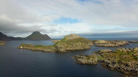 Rocky islets on Lofoten islands in Norway near Mortsund Footage