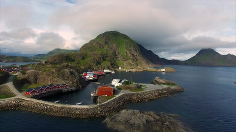 Fishing port Mortsund on Lofoten islands in Norway Footage