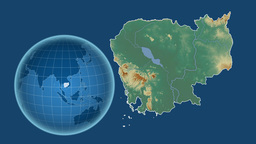 Cambodia and Globe. Relief Animation