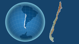Chile and Globe. Relief Animation