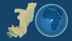Congo and Globe. Relief Animation