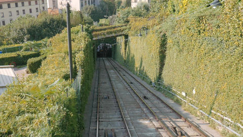 Bergamo funicular cablecar ascent, timelapse Footage