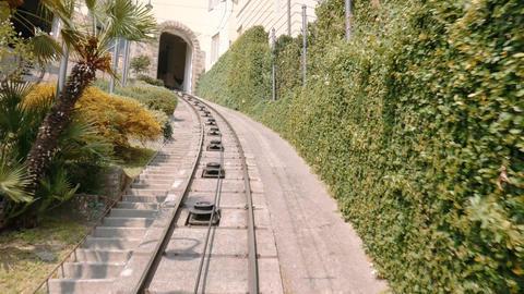 Bergamo funicular cablecar descent, timelapse Footage
