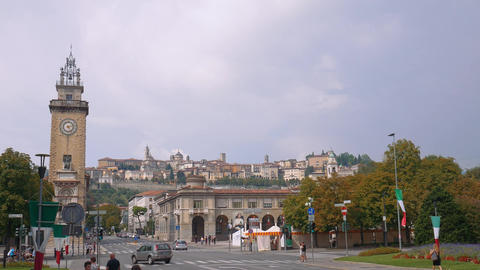 Bergamo Alta seen from the lower city Footage