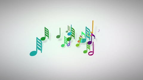 Slow motion of the musical notes with depth of field 4K Animation