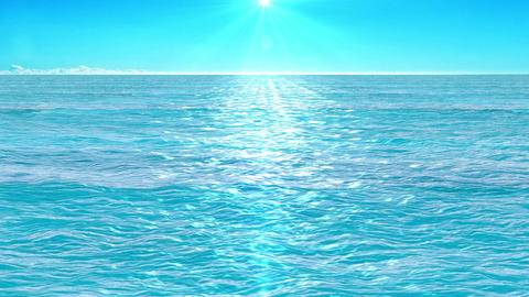 flight over azure water of sea, animation above the sea waves facing the sun Animation