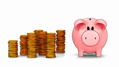 Piggy bank and growing stacks of coins in cel shading style Footage
