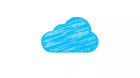 cloud computing icon painted with chalk, hand drawn animation 4K Animation