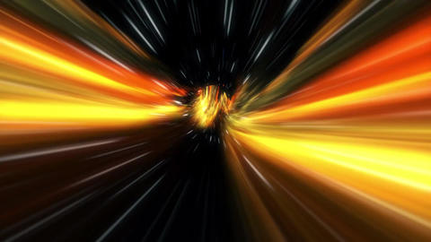 3D Red Yellow Black Curved Loopable Space Interstellar Wormhole Background Animation