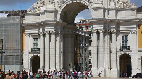 Arch of August Street in Lisbon downtown viewed from Commerce Square, panorama Footage