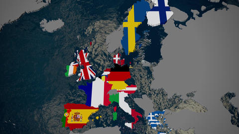 Map of Europe, member countries fall into place by join date, flags, 3D Footage
