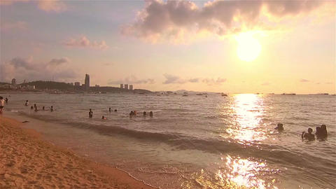Walk on the beach at Pattaya beach Footage