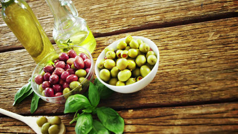 Ingredient olive, olive oil and herb Footage