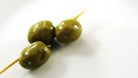 Close-up of green olive stick Footage