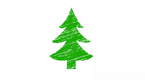 christmas tree painted with chalk, hand drawn animation 4K Stock Video Footage