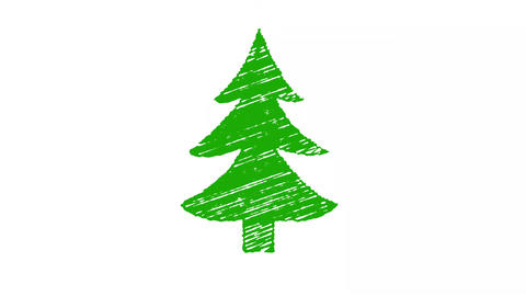 christmas tree painted with chalk, hand drawn animation 4K Animation