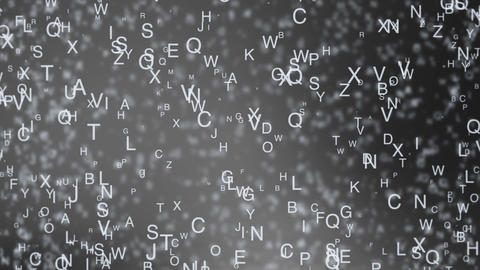 Abstract background from chaotic moving letters Animation