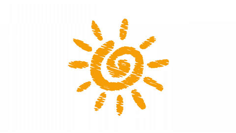 weather icon sun painted with chalk, hand drawn animation 4K Animation