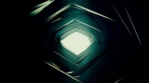 3D render, flying in a industrial tunnel abstract tunnel of metal structure 4K 애니메이션