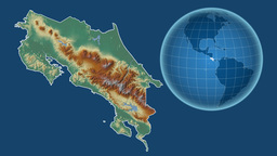 Costa Rica and Globe. Relief Animation