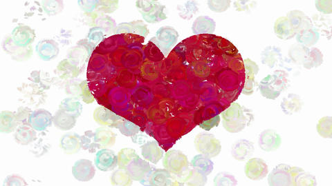 Red heart on animated dots background Animation