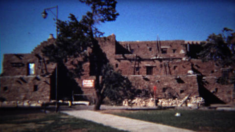 1972: Native American Indian southwestern style pueblo building Footage