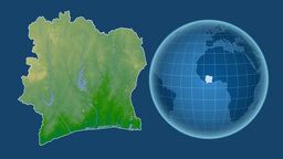 Cote d'Ivoire and Globe. Bumps shaded Animation