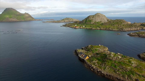 Aerial of small fishing ports on Lofoten islands in Norway Footage