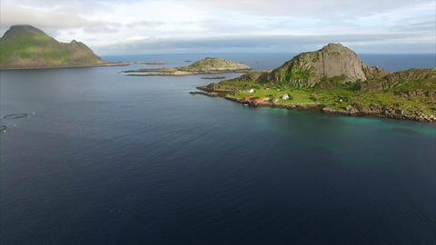 Small fishing ports on Lofoten islands in Norway, aerial view Footage