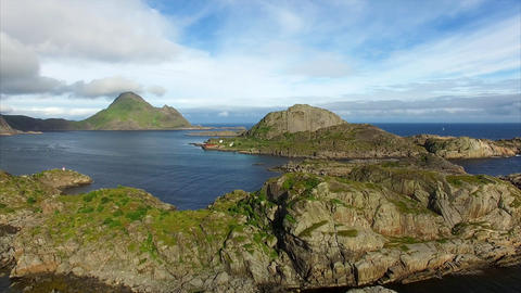 Picturesque rocky islands on Lofoten islands in Norway, aerial view Footage