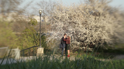 A guy and a girl on a romantic date in a Park in spring Stock Video Footage
