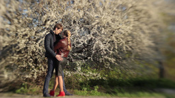 Guy hugs a girl on a date in the Park in the spring near flowering tree Footage