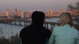 Romantic date guy and girl at sunset Stock Video Footage