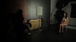 Behind the scenes of erotic photo shoot in the Studio Footage