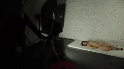 Behind the scenes photo shoot with erotic Nude girl model in the Studio Footage