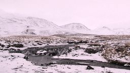 Waterfall on Iceland volcanic landscape in winter time Footage