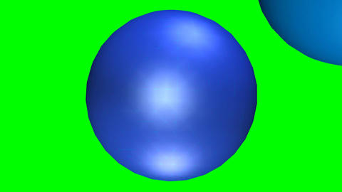 Abstract movie, one textured blue sphere penetrates the mass of the second spher 画像