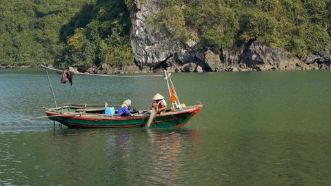 Fishermen in the boat Filmmaterial