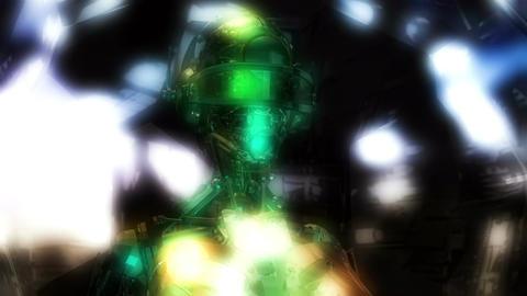 Digital 3D Animation of a Cyborg Head Animation
