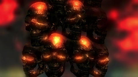 Digital 3D Animation of creepy Skulls Animation