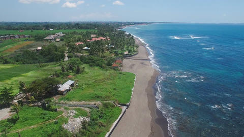 Aerial footage grey sand beach coast Footage