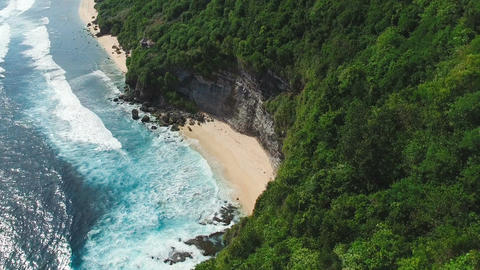 Flying over the rock to the secret beach Footage