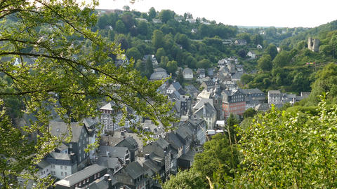 Overview of Timber frame houses in Monschau, Germany Footage