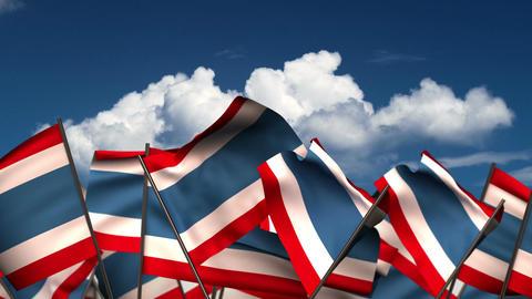 Waving Thai Flags Animation