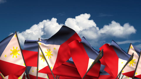 Waving Philippines Flags Animation