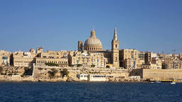 The Valletta skyline with Basilica of Our Lady of Mount Carmel as seen from Slie Footage