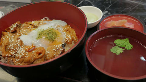 gyudon, a Japanese cuisine, Japanese Rice Topped with... Stock Video Footage