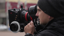 Cameraman With A Professional Camera (close Up) stock footage